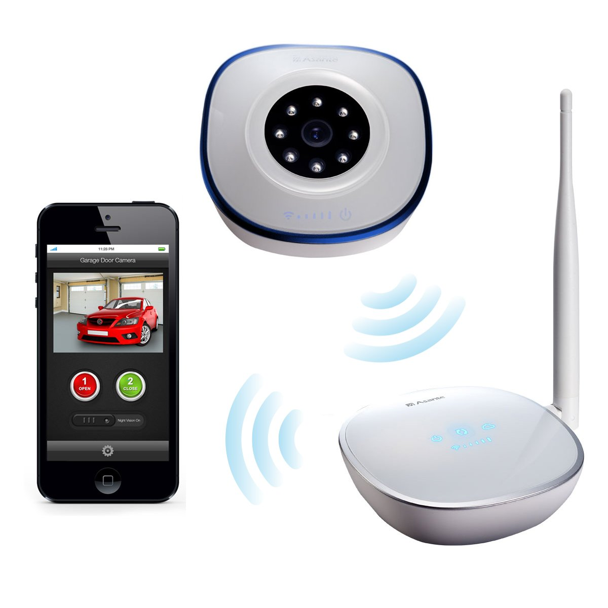 Asante Garage Door Opener With Camera Kit, Remotely Open And Close Garage  Doors From A Smartphone With Internet Access And See Streaming Video Of  Your