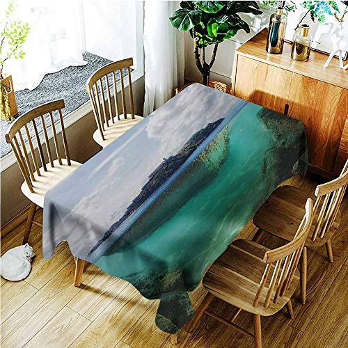 (Small Rectangular Tablecloth,Island Floating Rock and Lighthouse in Crystal Clear Atlantic Water Mist Nature Photo,Party Decorations Table Cover Cloth,W60X90L,Blue Grey White)