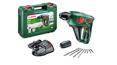 Bosch Martillo perforador a batería Uneo (12 V, 1 batería, cargador, Portabrocas adicional para brocas cilíndricas, Power for all, Sistema SDS, ...