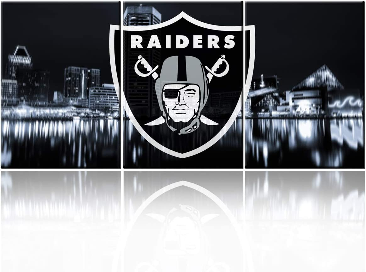 Native American Decor USA Football Painting Las Vegas Raiders Wall Art Contemporary Artwork Living Room House Decorations Cityscape Pictures Framed Ready to Hang Poster and Prints( 60''W x 28''H)