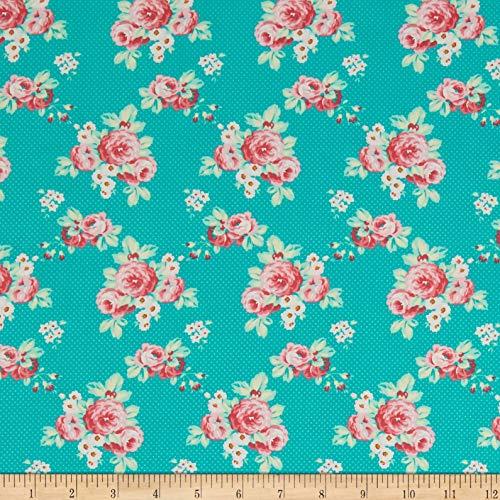 FreeSpirit Fabrics Freespirit Darling Meadow Lil Roses Fabric, 1, Teal, Fabric by the Yard ()