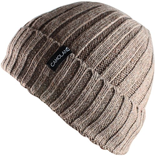 CAMOLAND Men's Fleece Wool Cable Knit Winter Beanie -
