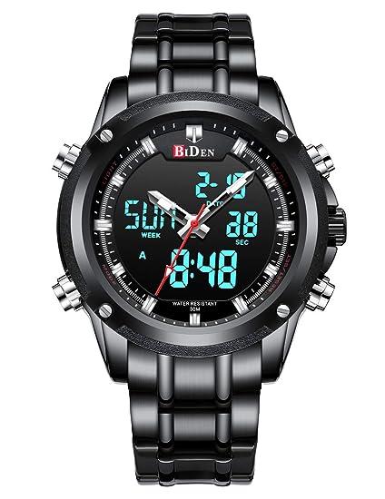 Relojes Digitales Analógicos para Hombres Reloj Cronógrafo Impermeable Deportivo Hombre Relojes de Pulsera Multifuncionales Acero Inoxidable Militar ...