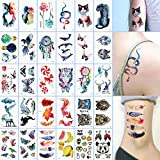 Oottati 30 Sheets Small Cute Temporary Tattoos Kit - Watercolor Painting Dream Catcher Snake Cat Tiger Bird Bulb Whale Butterfly Wolf Lollipop Fox Panda Feather for Women Adult