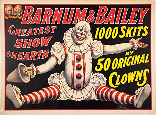 (A SLICE IN TIME Barnum & Bailey 50 Original Clowns Greatest Show on Earth United States Vintage Circus Travel Wall Decor Advertisement Art Poster Print. Measures 10 x 13.5 inches)