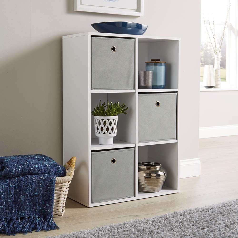 White Wooden Bookcase 9-Cube Free Standing with 9 Storage Boxes for Living Room Study Room Balcony Office Mondeer Storage Unit