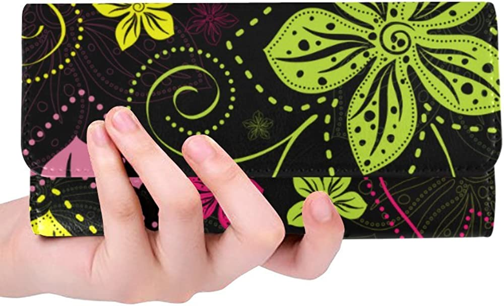 InterestPrint ladies trifold wallet colorful cute animals floral Strawberry pattern print women wallets