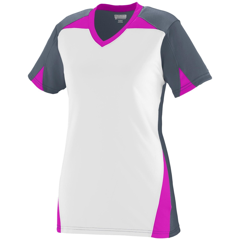 Augusta Sportswearレディースマトリックスジャージー B00P542XHE Medium|Graphite/White/Power Pink Graphite/White/Power Pink Medium