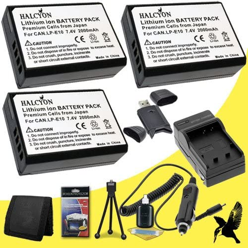 Three Halcyon 2000 mAH Lithium Ion Replacement LP-E10 Batteries and Charger Kit SDHC Card USB Reader Deluxe Starter Kit for Canon EOS Rebel T5 DSLR Camera and Canon LP-E10 Memory Card Wallet