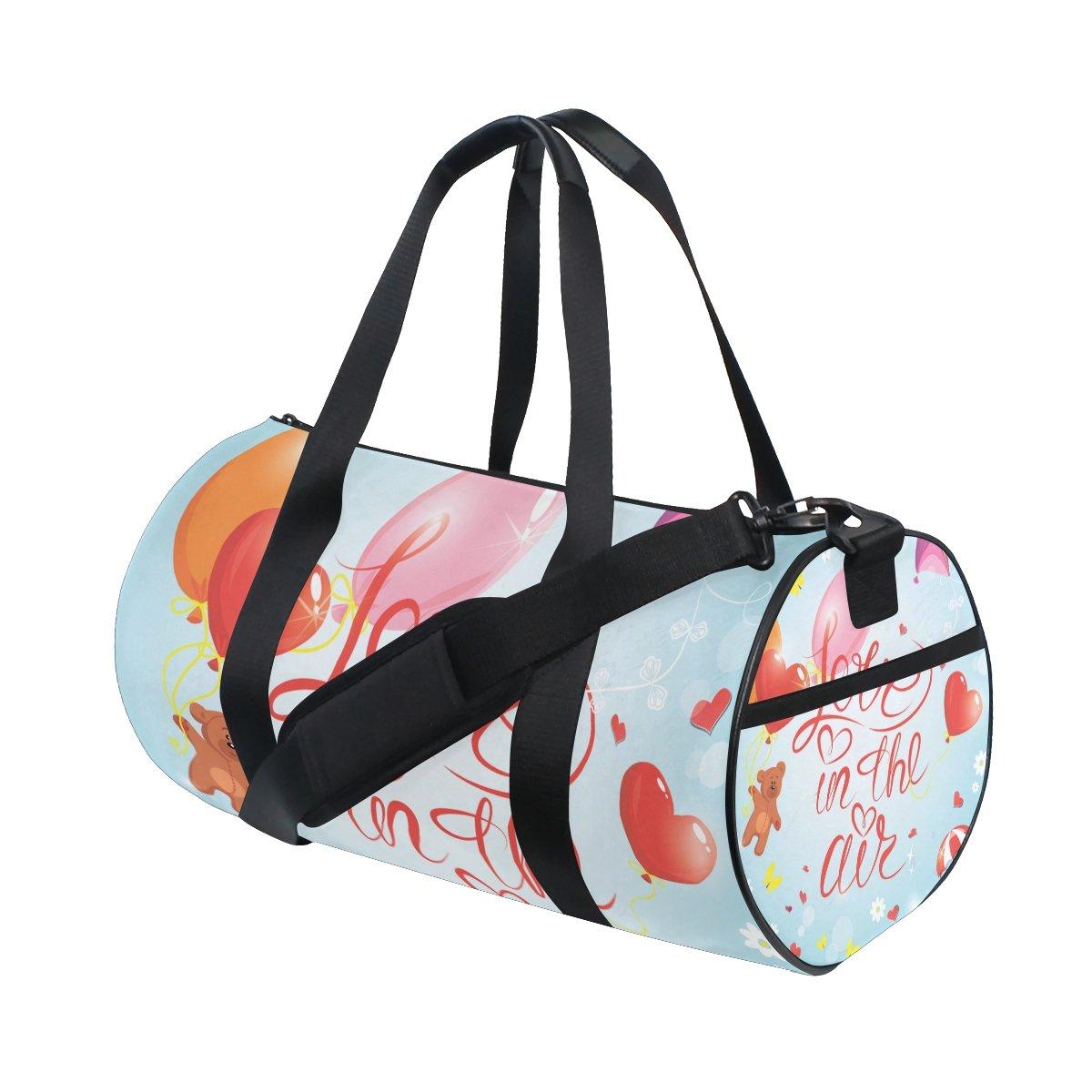 U LIFE Cute Animal Bear Love Heart Floral Flowers Butterfly Sports Gym Shoulder Handy Duffel Bags for Women Men Kids Boys Girls
