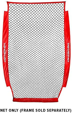 PowerNet 4×7 Portable Pitching I-Screen NET ONLY Baseball Pitcher Protection Instant Player and Coach Protector from Line Drives Grounders Heavy Duty Knottless Netting Batting Practice