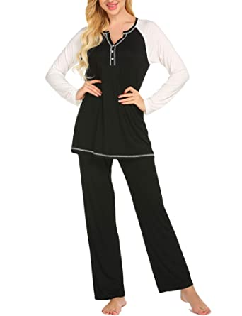 68d8ec037a Ekouaer Pajamas Women s V Neck Long Sleeve Sleepwear Casual Loungewear Soft  Pj Set S-XXL
