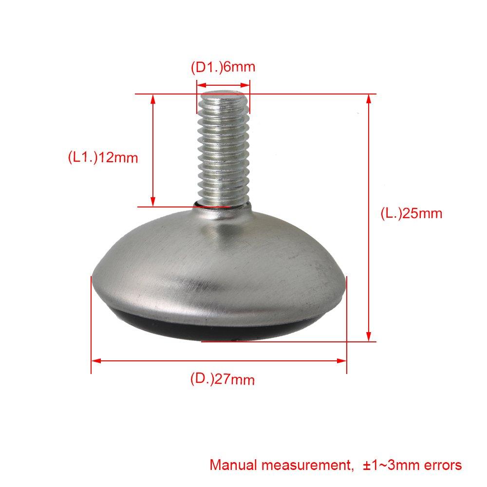 Mesa muebles regulables patas de nivelaci/ón de Base negra M 6 x 28 6 mm v/ástago de topes pl/ásticos 20 unidades