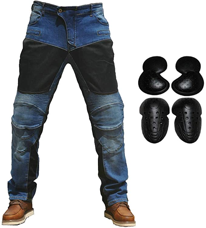 Motorcycle Riding Jeans With 4 X Knee Hip Armor Pads Cycling Racing Protective Pants XXL=36, Army Green