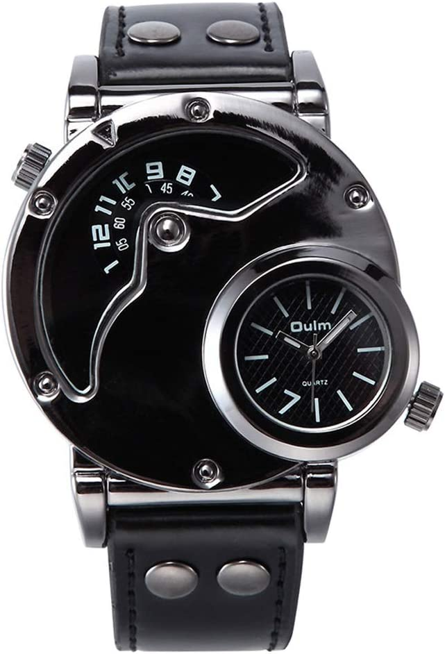 Yikuo Reloj Trend Trendy para Hombres/Dos Lugares Personalidad Reloj Deportivo/Buen Material, Práctico Y Durable Delicado (Color : Black)