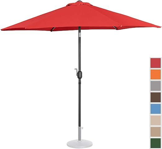 Uniprodo Sombrilla Grande Parasol De Jardín Uni_Umbrella_R270RE (Pantalla Hexagonal De Ø 270 cm con Densidad De 180 g/m2, Inclinable, Color Rojo): Amazon.es: Jardín