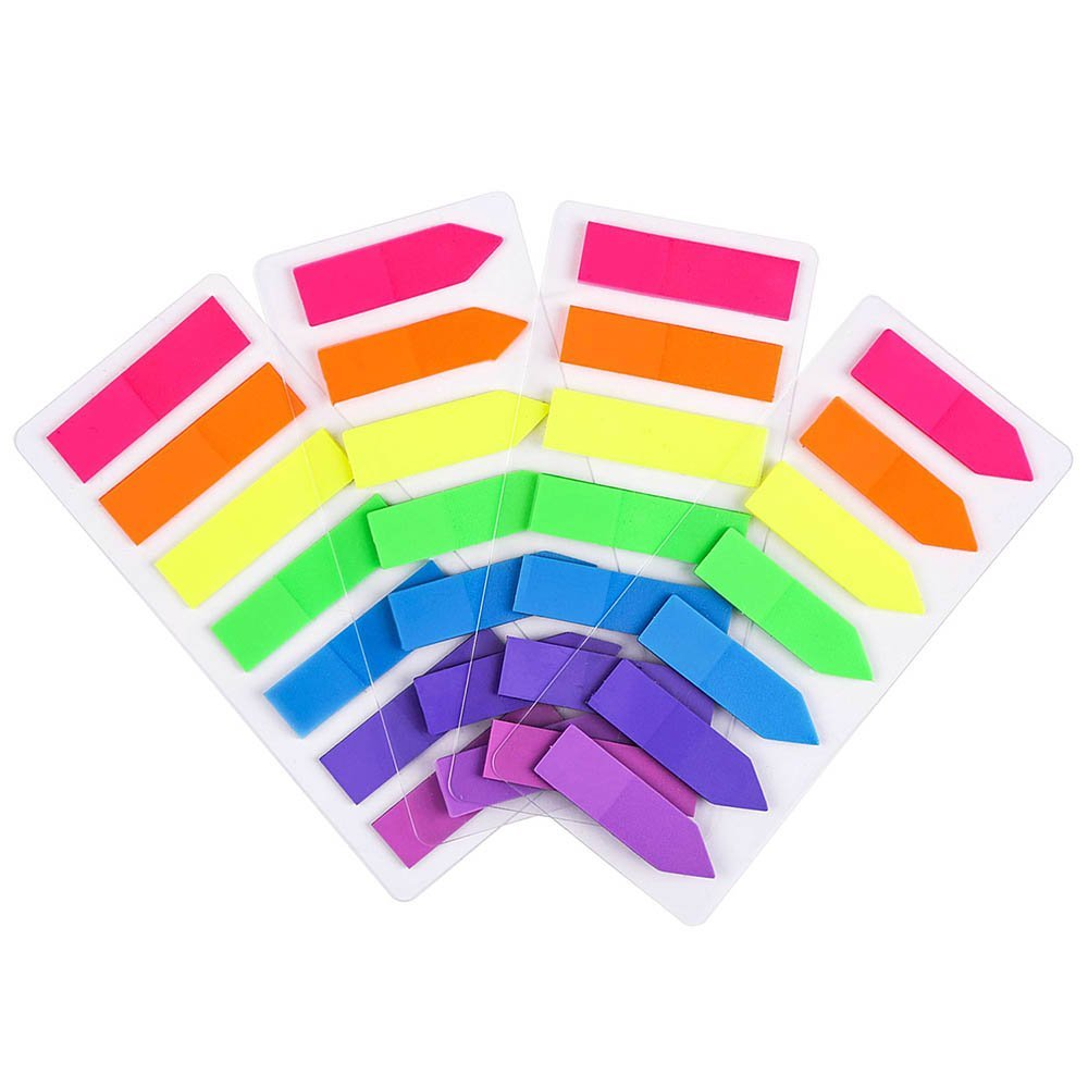 PrettyFNT 4 Sets Sticky Flag Notes, Neon Page Markers Colored Index Tabs, Fluorescent Sticky Note Flags for Page Marker, 7 Colors 560pcs Gaoyu