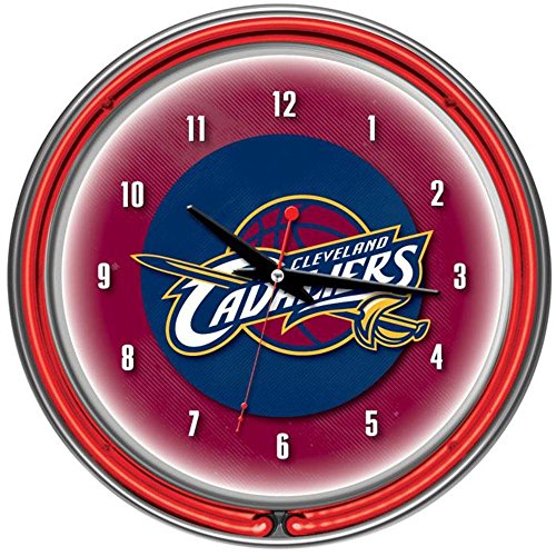Cleveland Cavaliers NBA Chrome Double Ring Neon Clock