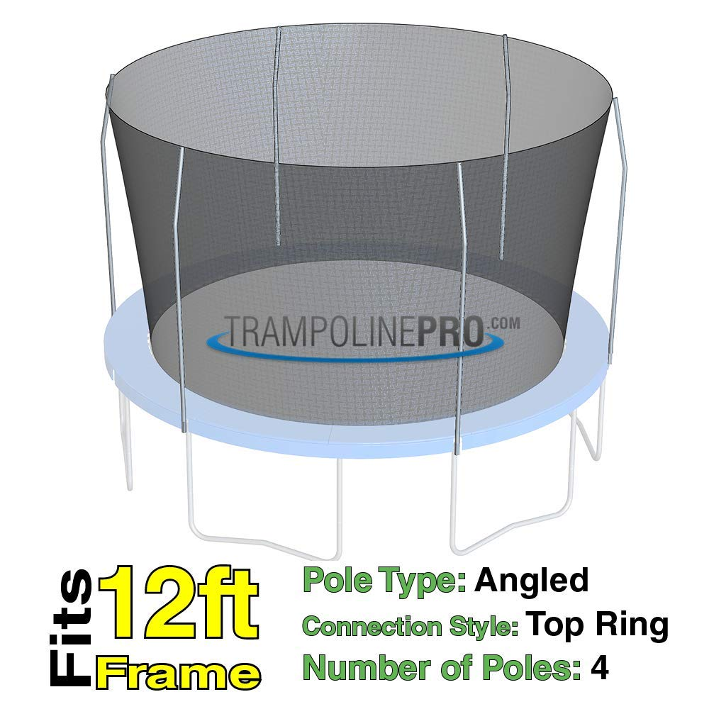 Trampoline Replacement Nets for Top Ring Models | Sizes 12 ft - 14 ft - 15 ft | Net Only | Poles Not Included | Top Ring Not Included (12 ft Net for 4 Pole Top Ring) by Trampoline Pro