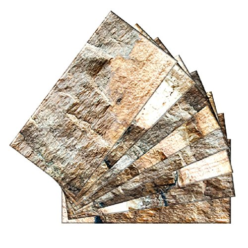SkinnyTile 04403 Peel and Stick Rock Surface Shades Glass Wall Tile (48-Pack), 6'' x 3'' by SkinnyTile