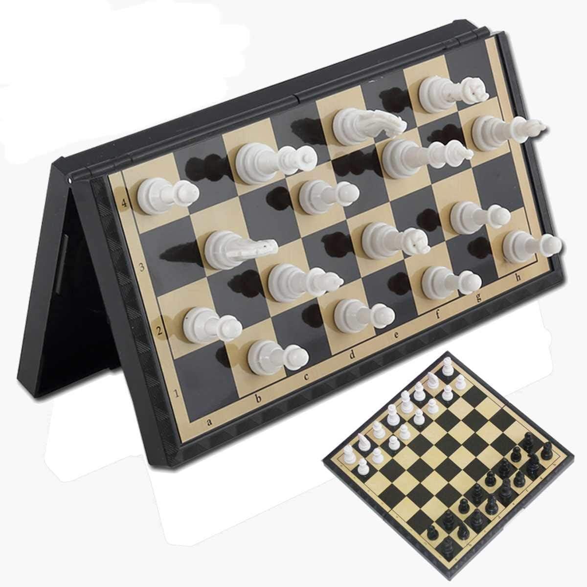 LF stores Ajedrez 3 en 1 Tablero de ajedrez magnético Plegable Juego de ajedrez de Viaje al Aire Libre Damas de Juguete Intelectualmente para niños Desarrollo Aprender ajedrez Regalo Juegos de Mesa: