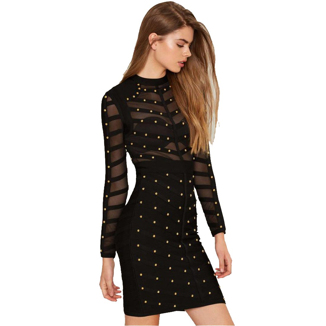 18c353bd27 Top1: HLBCBG Women's Rivets Studded Mesh Long Sleeve Club Bandage Dress 2268