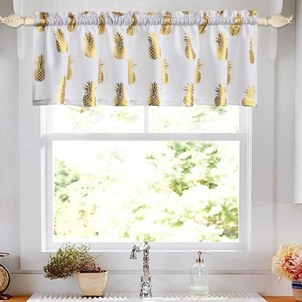 Amazon Com Oremila Kitchen Curtain Valance For Small Windows 56 X 15 Metallic Print Golden Pineapple Valance For Bathroom Window Rod Pocket 1 Pack Kitchen Dining