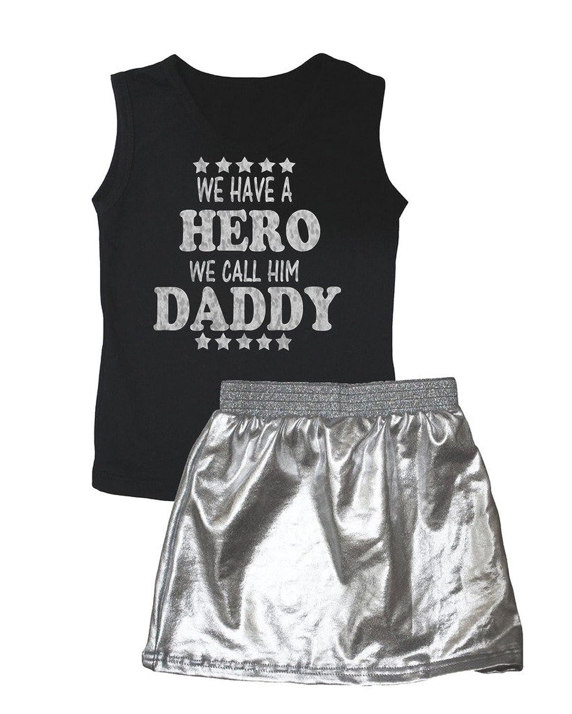 Petitebelle Bling Hero nous Appelons Lui Daddy Noir Gilet Argent Jupe Lot de 1–8Y