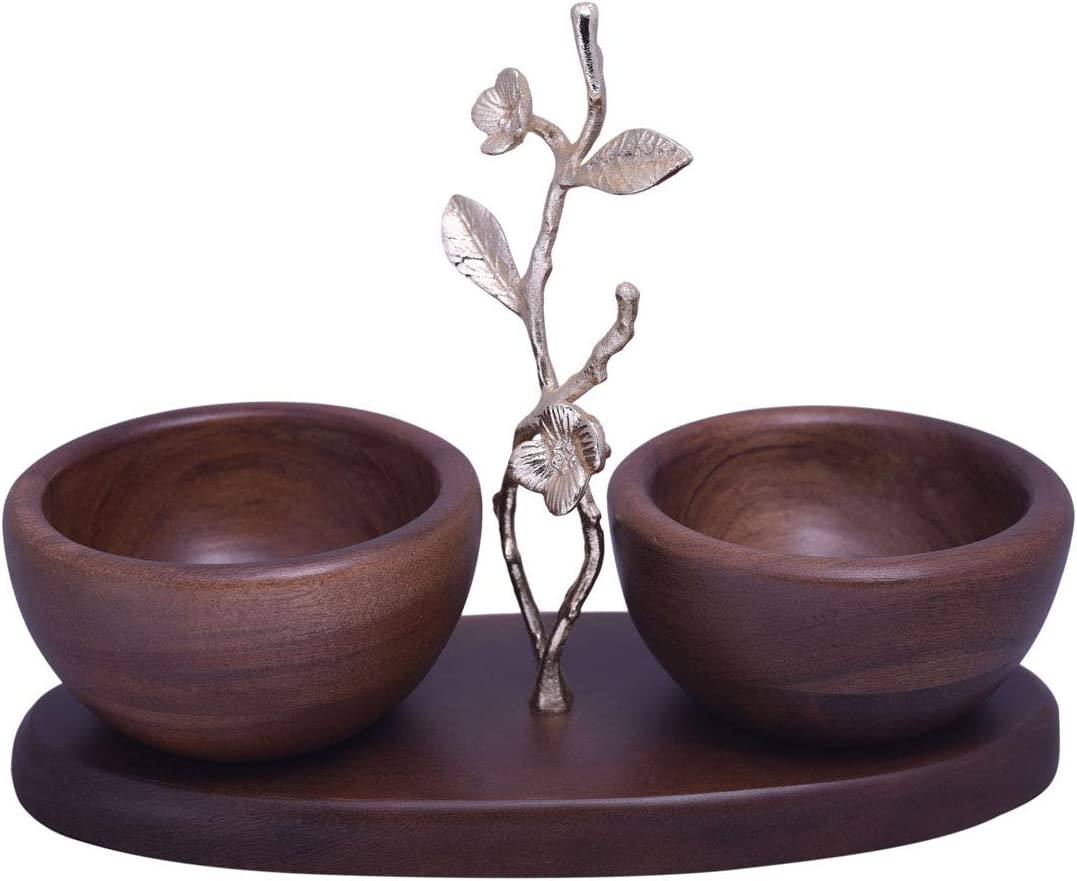 Decozen The Milli Collection Acacia Wood Two Small Nut Bowls Branch with Milli Flowers and Leaves in Gold Finish For Candies and Nuts Home Décor Item Wood Nut Serving Bowl 11.14 x 4.61 x 8.27 inches
