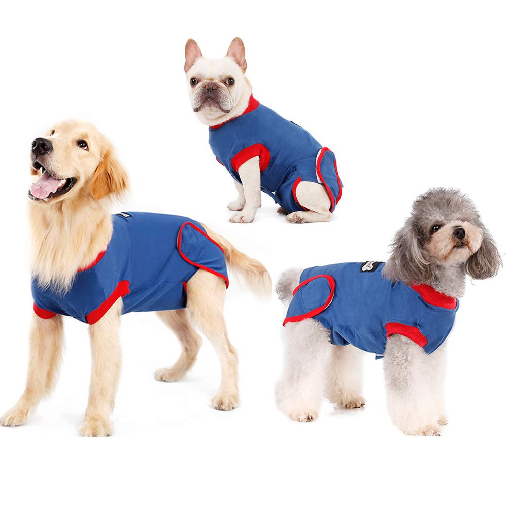 Recovery Suit for Dogs Cats After Surgery, Anti-Licking Male Female Dog Cone E-Collar Alternative Recovery Shirt Breathable Pet Surgical Recovery Snuggly Suit for Pet's Wounds, Bandages, Soft Fabric by IDOMIK