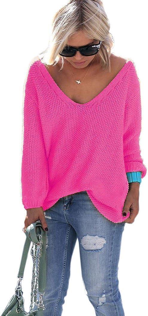 Gelb Mikos NEON Pink Rosa Pullover mit V-Ausschnitt Urlaub Einheitsgr/ö/ße S M