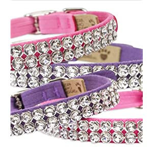 """Big Bling"" Ultrasuede Dog Collar with Swarovski Crystals by Susan Lanci Designs (MD (11"" to 12-1/2""))"