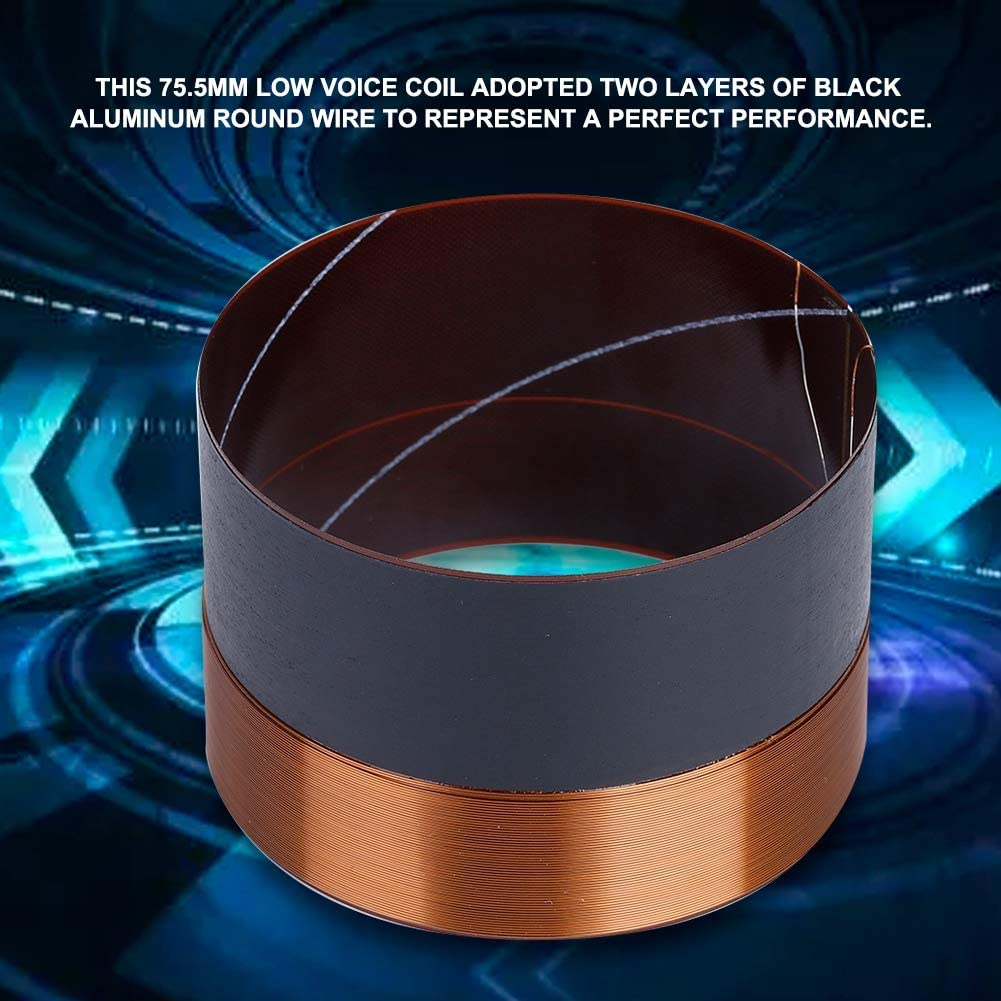 Zerone Audio Bass Speaker Voice Coil Woofer Sound Drive Aluminium 75.5MM-Black