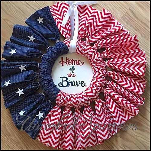 Red white and Blue patriotic fabric wreath. Flag. -