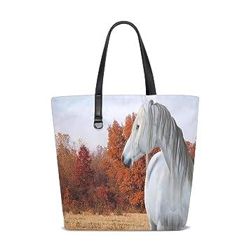 Amazon.com   Grey Autumn Horse Tote Bag Purse Handbag Womens ...