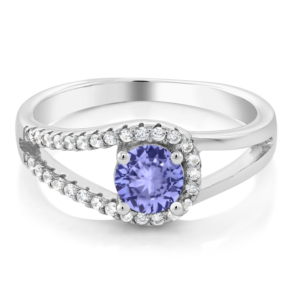 Gem Stone King Blue Tanzanite 925 Sterling Silver Women s Ring 0.81 Ctw Round Cut Available 5,6,7,8,9