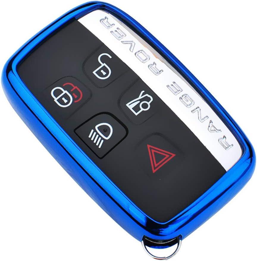 Blue Dik Hong Chrome Finish TPU Car Key Protector Remote Smart Key Cover Fob Case Shell for Land Rover Range Evoque LR4 LR2 Discovery Sport Defender Jaguar XF XJ XE