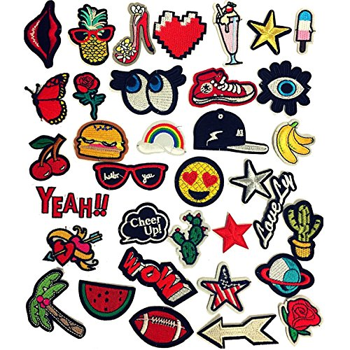 Special100% Iron On Patches 35 Pcs Assorted Size Embroidered Patches Motif Applique Badge Stickers For DIY Clothing, Jeans, Jacket, Handbag, Shoes