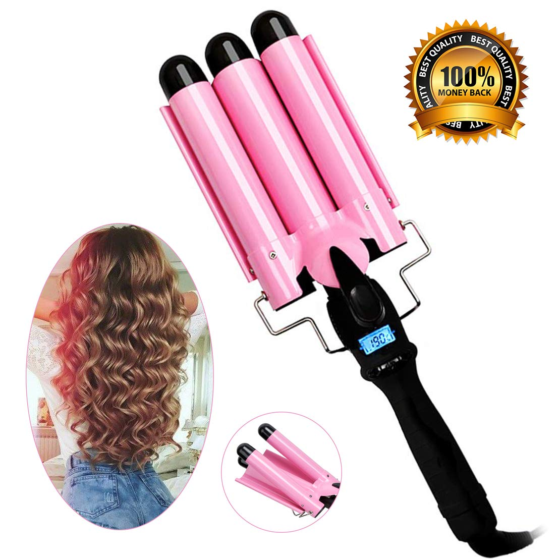 3 Barrel Curling Iron with LCD Temperature Display – 1 Inch Ceramic Tourmaline Triple Barrels, Ceramic Hair Crimper Hair Waver Hair Curlers Hair Curling Wand for Deep Waves Suit for All Hair Style