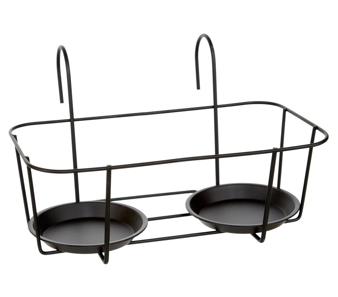Metall schwarz 34 x 20 x 24 cm ca Dehner Blumentopfhalter Marlow f/ür Rohrgel/änder