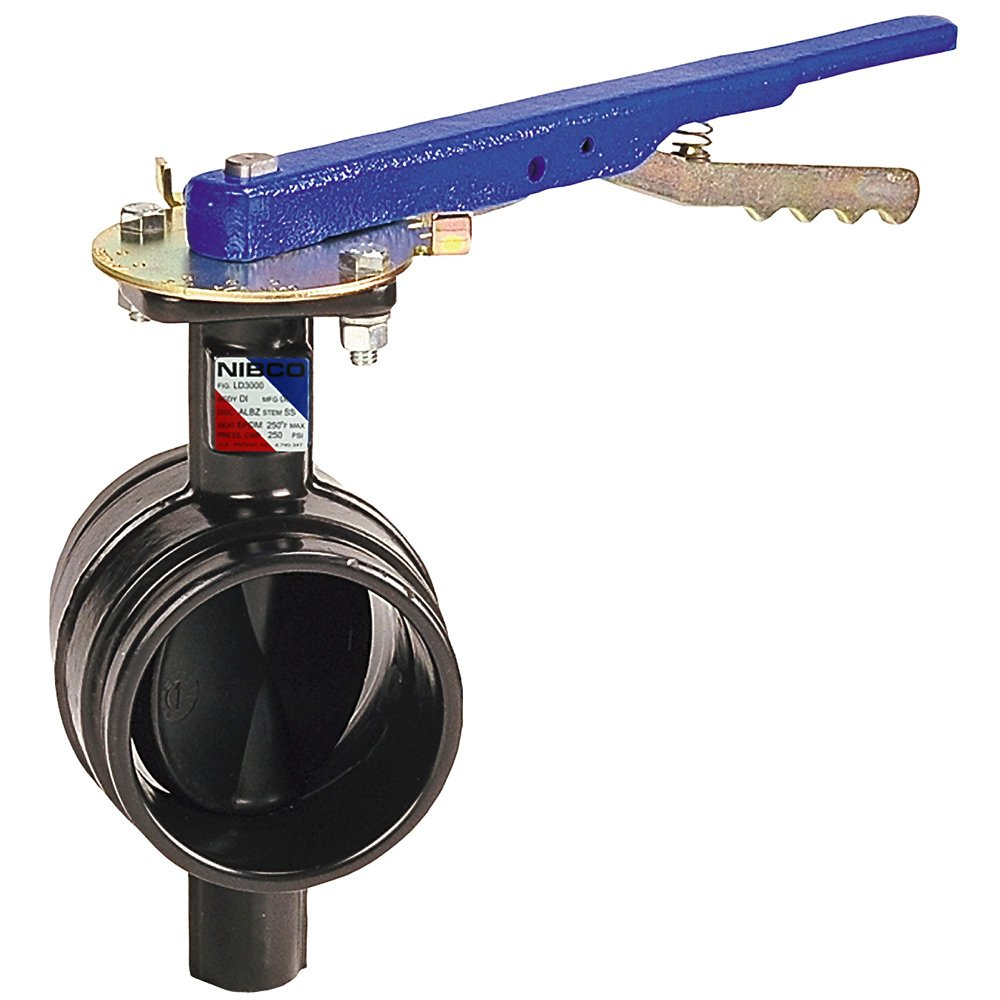 NIBCO GD-4765-3 Series Ductile Iron Butterfly Valve with EPDM Encapsulated Ductile Iron Disc, Lever-Lock Handle, Grooved, 3''