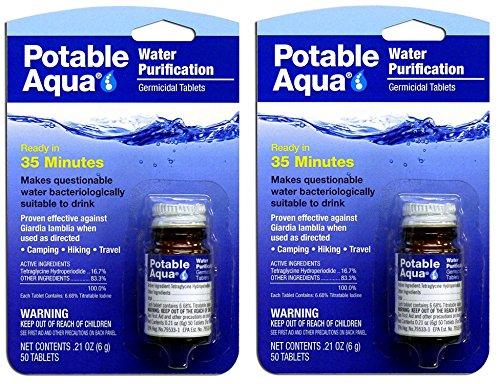 Potable Aqua CJDawa Water Tablets, 50 Count (2 Pack) (Aqua Water Tabs)