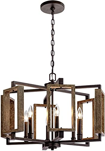 Home Decorators Collection 6-Light Aged Bronze Pendant with Wood Accents