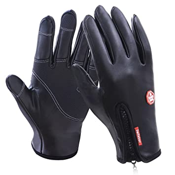 Cycling Gloves, Waterproof Leather Touchscreen in Winter Outdoor Windproof  Bike Gloves Fasion Work Gloves Adjustable