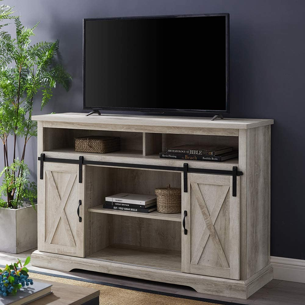 "WE Furniture AZ52HBSBDWO TV Stand, 52"", White Oak"
