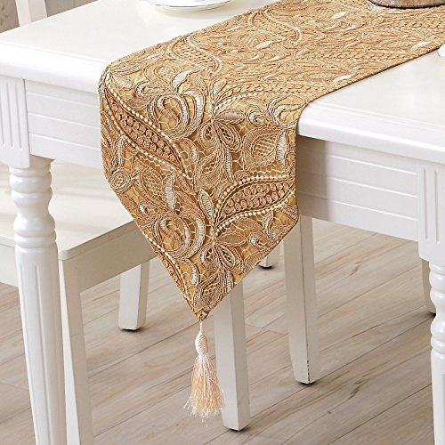 Christmas Tablescape Decor - Gorgeous elegant European style detailed champagne lace tapestry tassel table runner