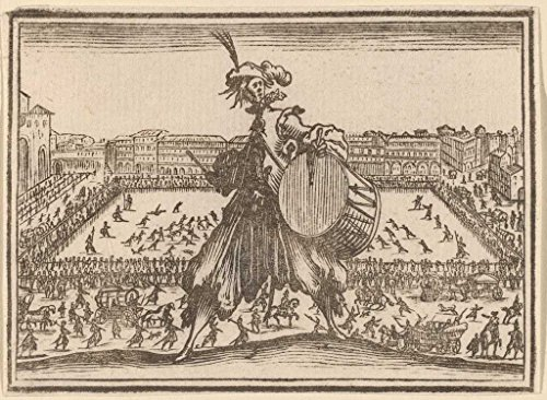 Fine Art Print | Edouard Eckman after Jacques Callot | Piazza Santa Croce, Florence 1621 | Vintage Wall Decor Poster Reproduction | 32in x 24in