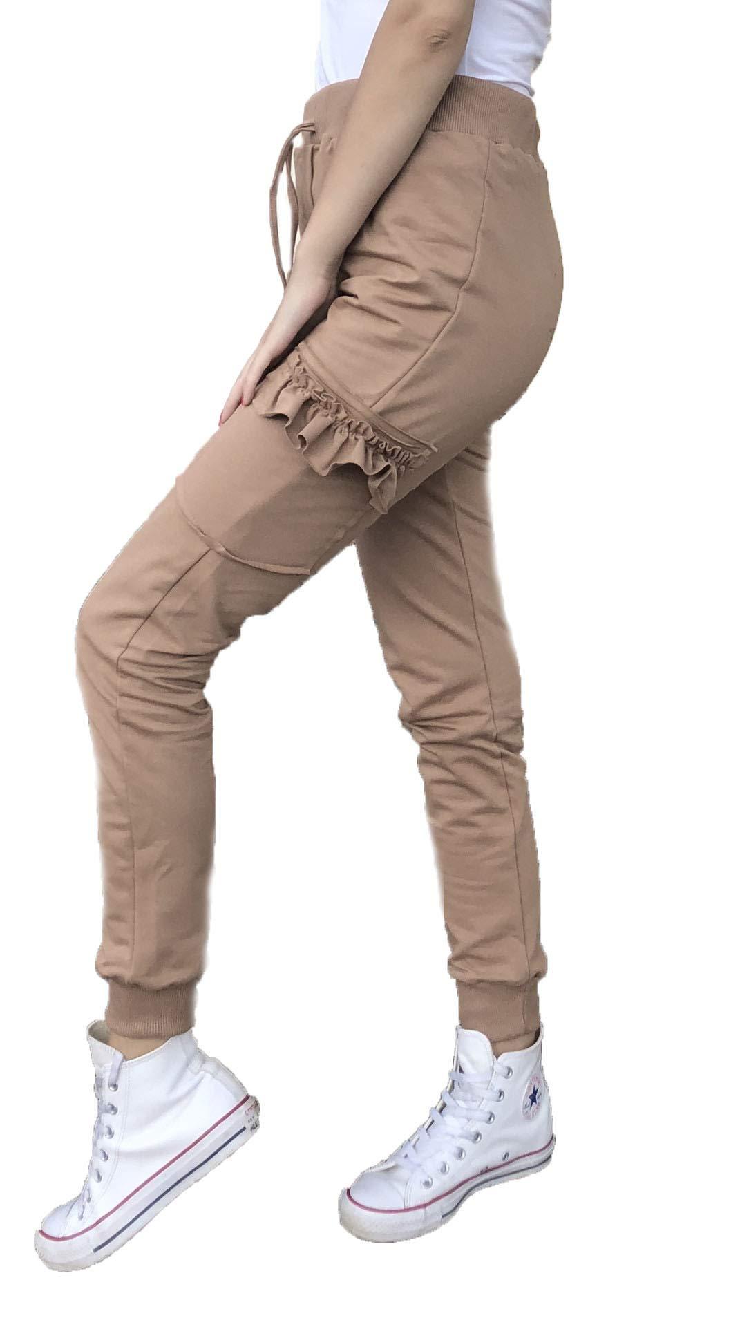 mettime US Girls Fashions Solid Color Adjustable Waistband Patchwork Ruffles High Waist Skinny Pants (Khaki, L)