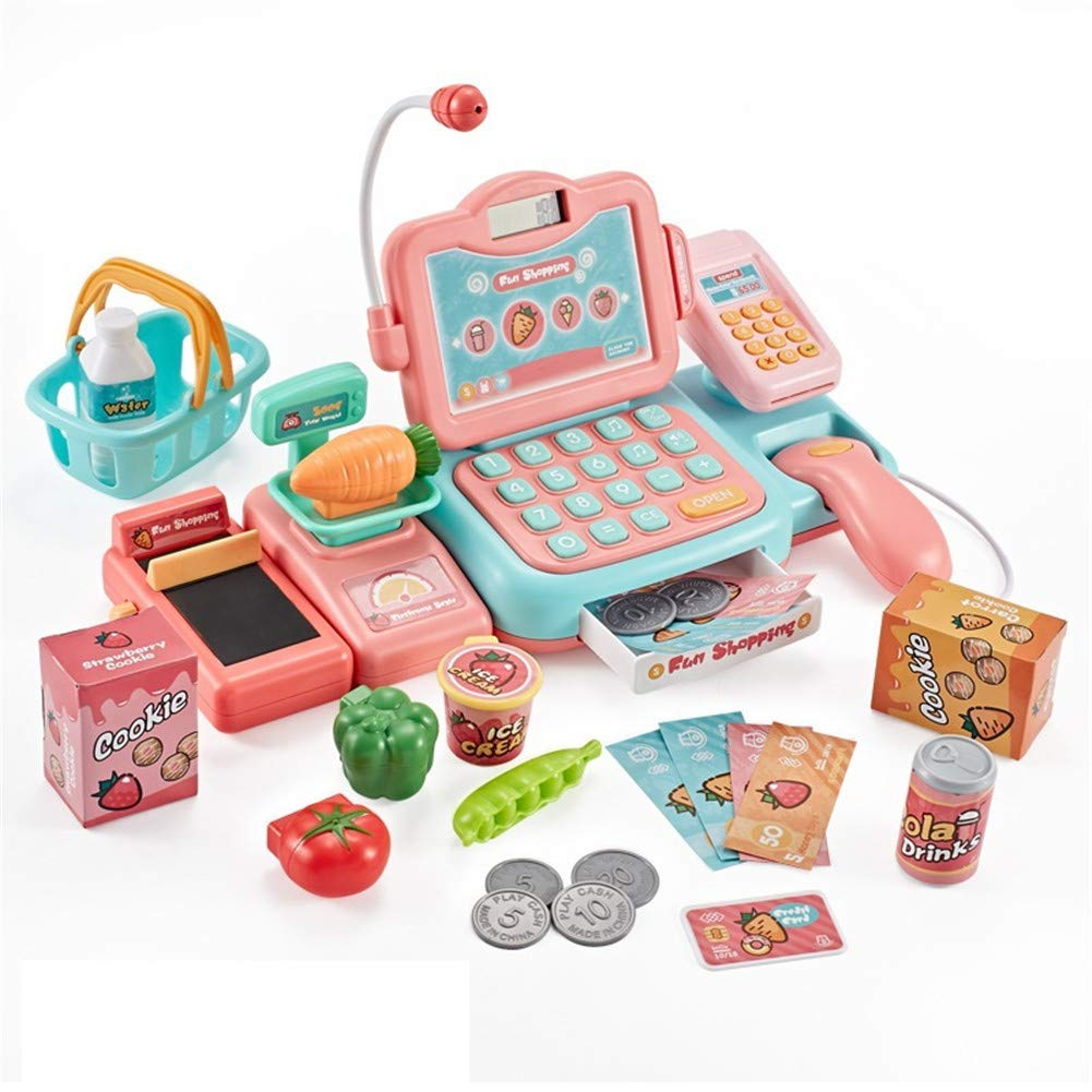 OUYAWEI Simulate Cash Register Shape Pretend Play Scan Swiping Card Educational Toy Set for Kids Baby Pink