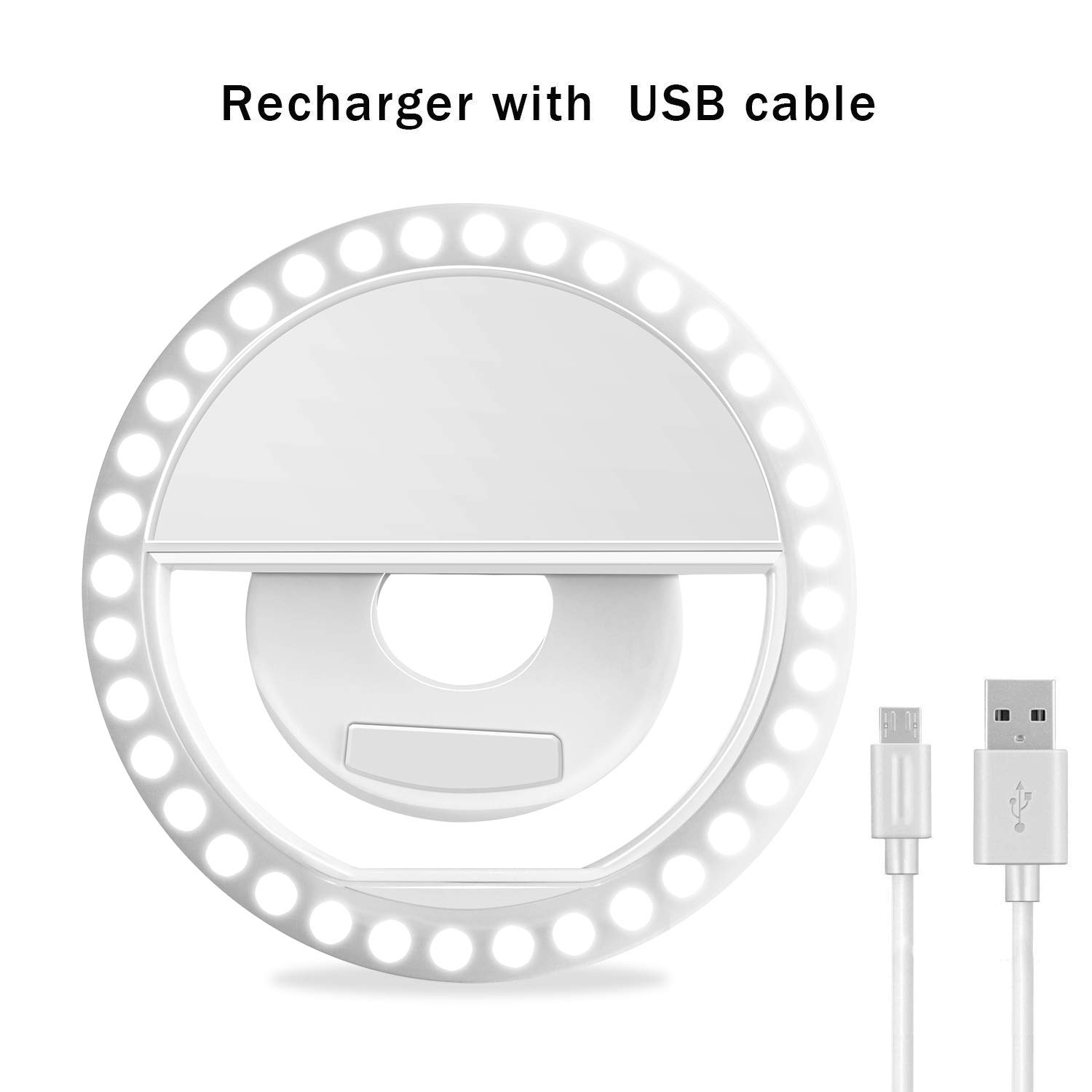 Selfie Ring Light, XINBAOHONG Rechargeable Portable Clip-on Selfie Fill Light with 36 LED for Smart Phone Photography, Camera Video, Girl Makes up (White, 36LED) by XINBAOHONG (Image #2)